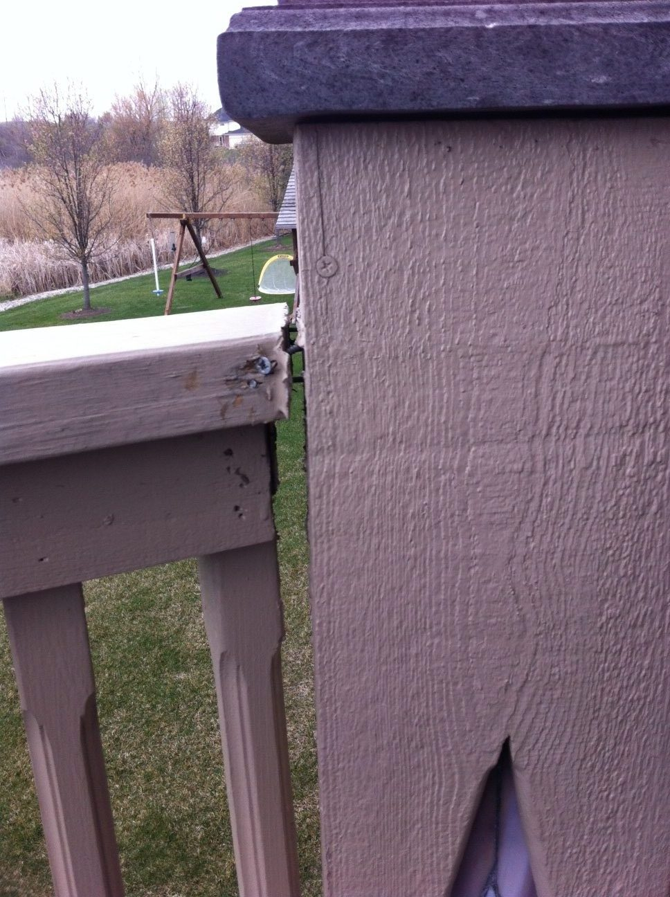Deck Railing Re-attached Right Side - Deck Repair Michigan ...